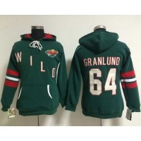 Minnesota Wild #64 Mikael Granlund Green Women's Old Time Heidi NHL Hoodie