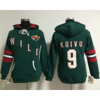 Minnesota Wild #9 Mikko Koivu Green Women's Old Time Heidi NHL Hoodie