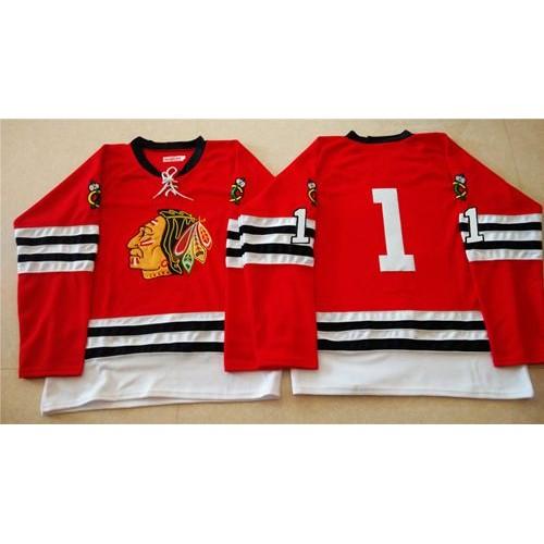 Mitchell And Ness 1960-61 Blackhawks  1 Glenn Hall Red Stitched NHL Jersey 3361e1f45