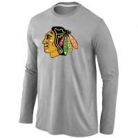 NHL Chicago Blackhawks Big & Tall Logo Long Sleeve T-Shirt Grey