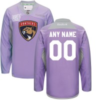 NHL Men's Florida Panthers Reebok Purple Customized 2016 Hockey Fights Cancer Practice Jersey