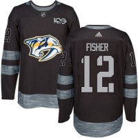 Nashville Predators #12 Mike Fisher Black 1917-2017 100th Anniversary Stitched NHL Jersey