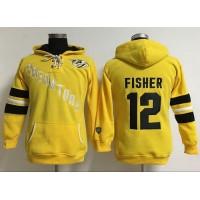Nashville Predators #12 Mike Fisher Yellow Women's Old Time Heidi Hoodie NHL Hoodie