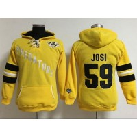 Nashville Predators #59 Roman Josi Yellow Women's Old Time Heidi Hoodie NHL Hoodie