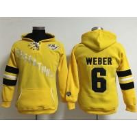 Nashville Predators #6 Shea Weber Yellow Women's Old Time Heidi Hoodie NHL Hoodie