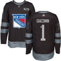New York Rangers #1 Eddie Giacomin Black 1917-2017 100th Anniversary Stitched NHL Jersey