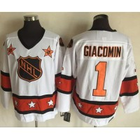 New York Rangers #1 Eddie Giacomin White Orange All Star CCM Throwback Stitched NHL Jersey