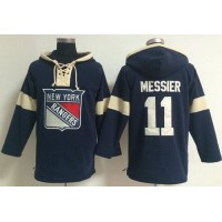 New York Rangers #11 Mark Messier Navy Blue Pullover NHL Hoodie