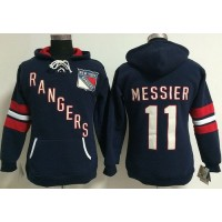 New York Rangers #11 Mark Messier Navy Blue Women's Old Time Heidi NHL Hoodie