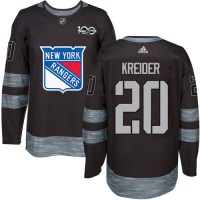 New York Rangers #20 Chris Kreider Black 1917-2017 100th Anniversary Stitched NHL Jersey