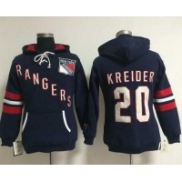 New York Rangers #20 Chris Kreider Navy Blue Women's Old Time Heidi NHL Hoodie