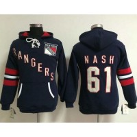 New York Rangers #61 Rick Nash Navy Blue Women's Old Time Heidi NHL Hoodie