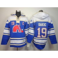 Nordiques #19 Joe Sakic Light Blue Sawyer Hooded Sweatshirt Stitched NHL Jersey
