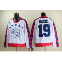 Nordiques #19 Joe Sakic White All Star CCM Throwback 75TH Stitched NHL Jersey