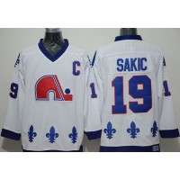 Nordiques #19 Joe Sakic Whtie CCM Throwback Stitched NHL Jersey