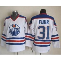 Oilers #31 Grant Fuhr White CCM Throwback Stitched NHL Jersey