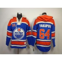 Oilers #64 Nail Yakupov Light Blue Sawyer Hooded Sweatshirt Stitched NHL Jersey