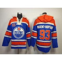 Oilers #93 Nugent-Hopkins Light Blue Sawyer Hooded Sweatshirt Stitched NHL Jersey