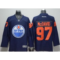Oilers #97 Connor McDavid Navy Blue Denim Stitched NHL Jersey