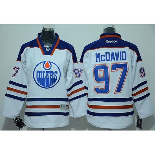 Oilers  97 Connor McDavid White Stitched Youth NHL Jersey bc388933d