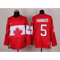 Olympic 2014 CA. #5 Dan Hamhuis Red Stitched NHL Jersey