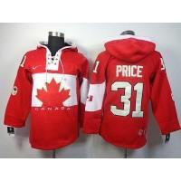 Olympic CA. #31 Carey Price Red Sawyer Hooded Sweatshirt Stitched NHL Jersey