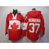 Olympic CA. #37 Patrice Bergeron Red Sawyer Hooded Sweatshirt Stitched NHL Jersey