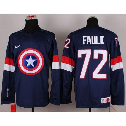Olympic Team USA  72 Justin Faulk Navy Blue Captain America Fashion  Stitched NHL Jersey 8dd3d6889
