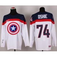 Olympic Team USA #74 T. J. Oshie White Captain America Fashion Stitched NHL Jersey