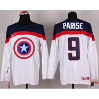 Olympic Team USA #9 Zach Parise White Captain America Fashion Stitched NHL Jersey