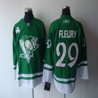 Penguins #29 Andre Fleury St. Patty's Day Stitched NHL Jersey