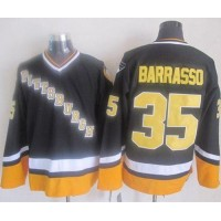 Penguins #35 Tom Barrasso BlackYellow CCM Throwback Stitched NHL Jersey