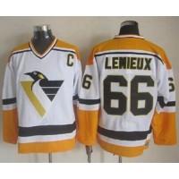 Penguins #66 Mario Lemieux WhiteYellow CCM Throwback Stitched NHL Jersey