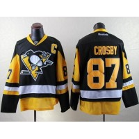 Penguins #87 Sidney Crosby Black Alternate Stitched NHL Jersey