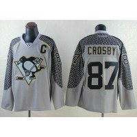 Penguins #87 Sidney Crosby Charcoal Cross Check Fashion Stitched NHL Jersey
