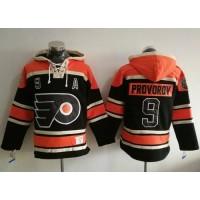 Philadelphia Flyers #9 Ivan Provorov Black Sawyer Hooded Sweatshirt Stitched NHL Jersey
