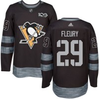 Pittsburgh Penguins #29 Andre Fleury Black 1917-2017 100th Anniversary Stitched NHL Jersey