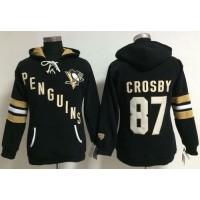Pittsburgh Penguins #87 Sidney Crosby Black Women's Old Time Heidi NHL Hoodie