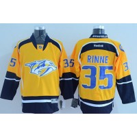 Predators #35 Pekka Rinne Yellow Home Stitched NHL Jersey