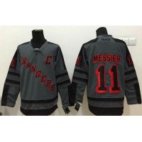 Rangers #11 Mark Messier Charcoal Cross Check Fashion Stitched NHL Jersey