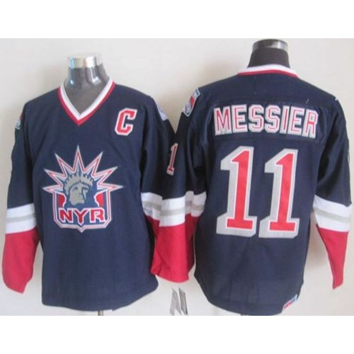 b7051d046 Rangers  11 Mark Messier Navy Blue CCM Statue of Liberty Stitched NHL Jersey