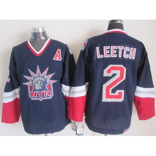 214d9a446 Rangers  2 Brian Leetch Navy Blue CCM Statue of Liberty Stitched NHL Jersey