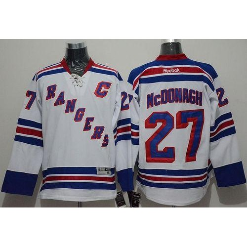 reputable site e2eec 06143 Rangers #27 Ryan McDonagh White Road Stitched NHL Jersey