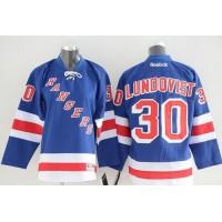 Rangers #30 Henrik Lundqvist Blue Home Youth Stitched NHL Jersey