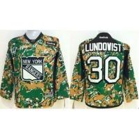 Rangers #30 Henrik Lundqvist Camo Veterans Day Practice Stitched Youth NHL Jersey