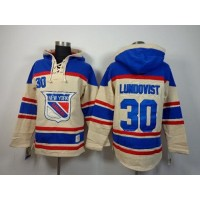 Rangers #30 Henrik Lundqvist Cream Sawyer Hooded Sweatshirt Stitched NHL Jersey