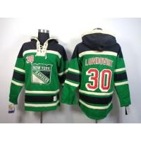 Rangers #30 Henrik Lundqvist Green St. Patrick's Day McNary Lace Hoodie Stitched NHL Jersey