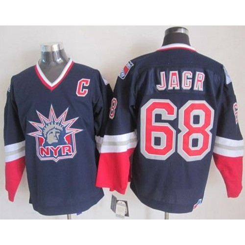 7ec138aae Rangers  68 Jaromir Jagr Navy Blue CCM Statue of Liberty Stitched NHL Jersey