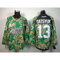 Red Wings #13 Pavel Datsyuk Camo Veterans Day Practice Stitched NHL Jersey