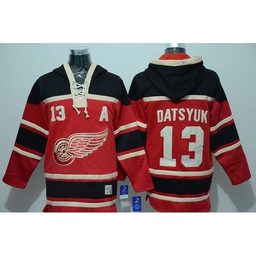 Red Wings  13 Pavel Datsyuk Red Sawyer Hooded Sweatshirt Stitched NHL Jersey a77318f00
